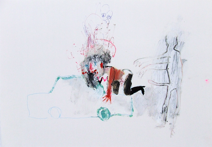 Bel Fullana – ON THE CAR II. Oil, pen and pencil on paper. 2012