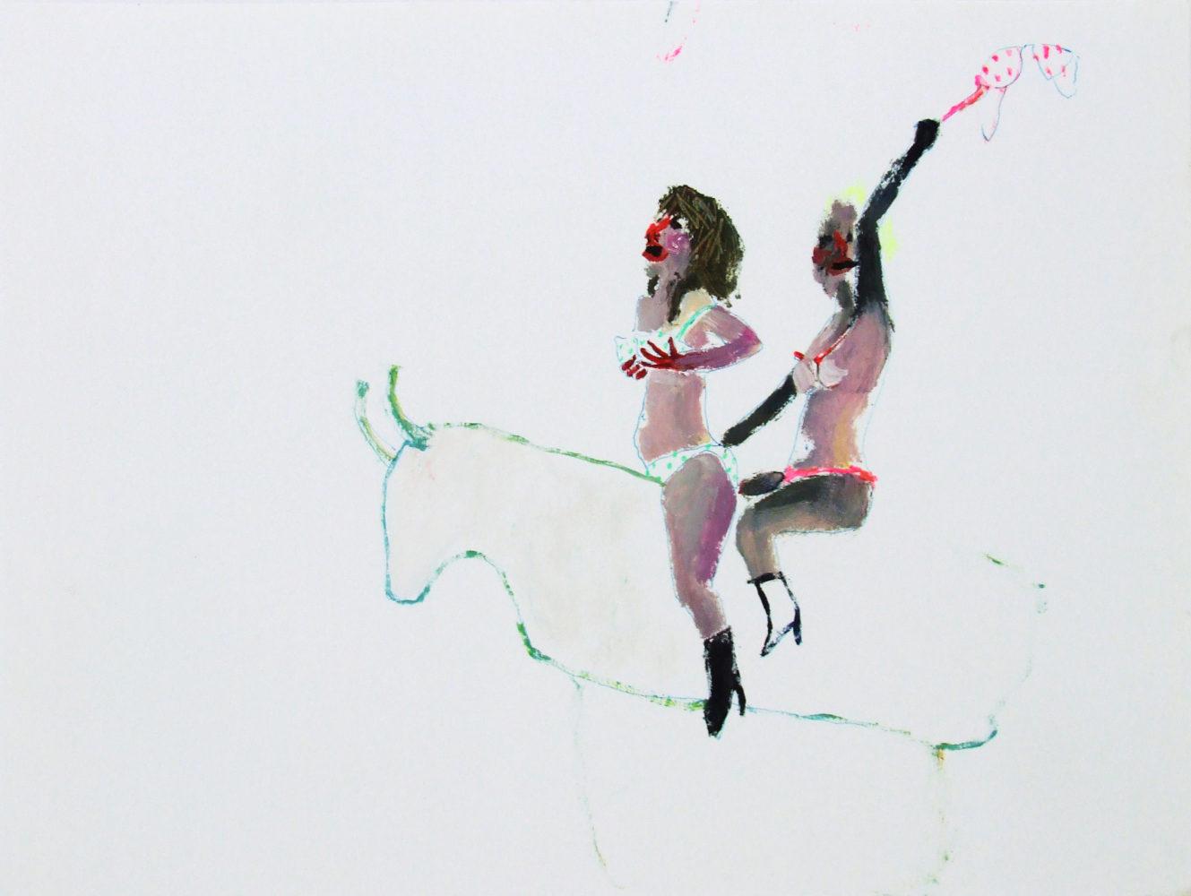 Bel Fullana – MECHANICAL BULL. Oil and pen on paper. 29'7 x 21 cm. 2012