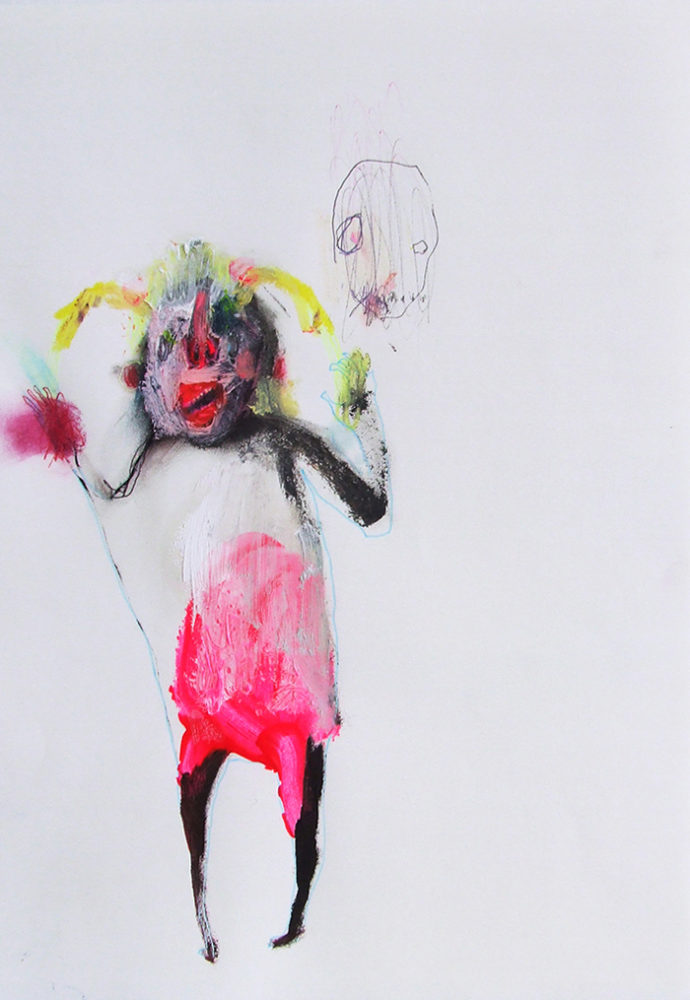 Bel Fullana – FOOL. Oil and pen on paper. 29'7 x 21 cm. 2012.