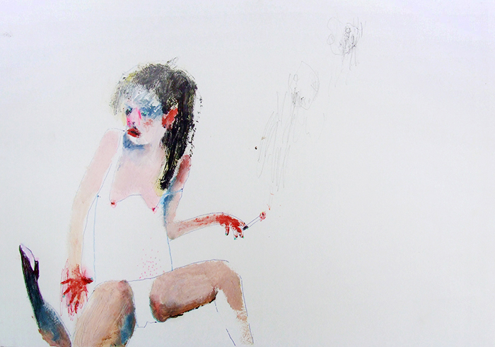 Bel Fullana – CIGARETTE AND BYE. Oil and pen on paper. 21 x 29'7cm. 2012
