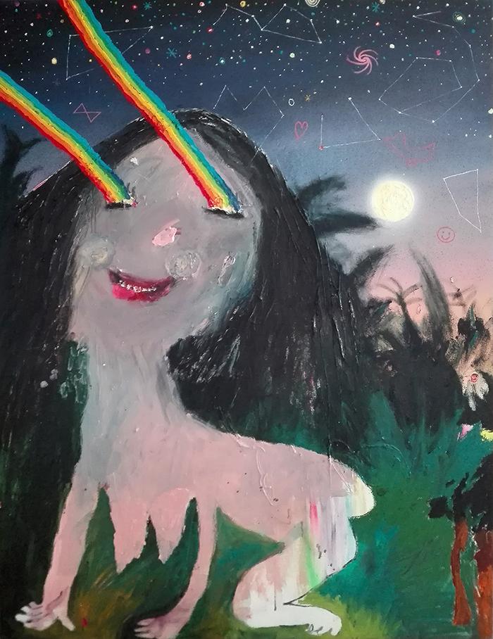 Bel Fullana – TARZANA LOBA. Oil and spray on canvas. 116 x 89 cm. 2017