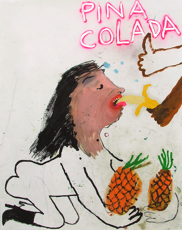 Bel Fullana – PIÑA COLADA (Sex on the beach). Oil, charcoal and spray on paper. 90 x 70 cm. 2016