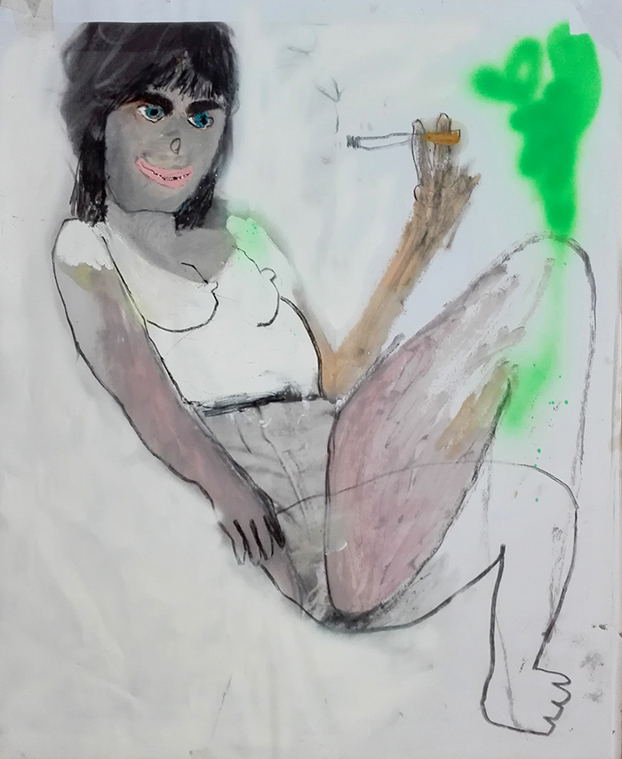 Bel Fullana – FUMANDO ESPERO. Oil, charcoal, spray and digital printing on paper. 84 x 72 cm. 2015.