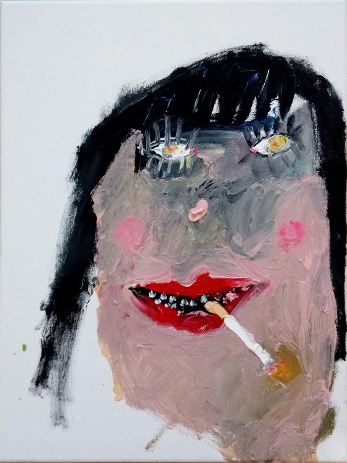 Bel Fullana – TARZANA FUMA. Oil on canvas. 40 x 30 cm. 2017