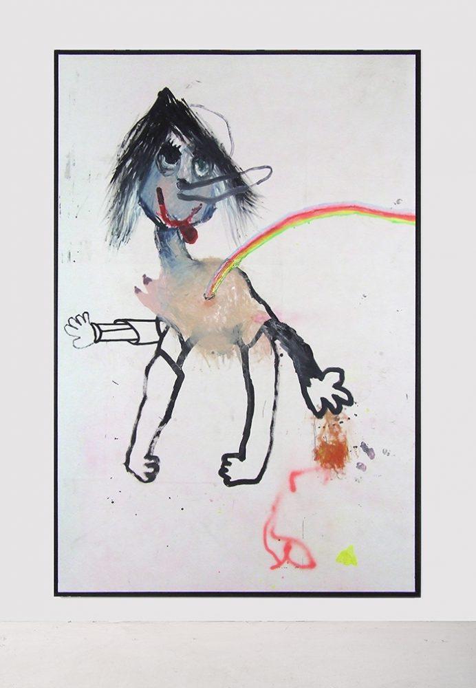 Bel Fullana – PINOCHA. Oil, acrilic, spray and marker pen on canvas. 195 x 295 cm. 2017