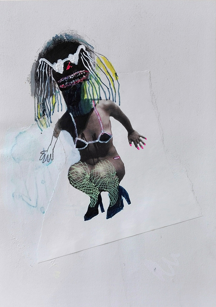 Bel Fullana – FLASHDANCE A MEDIANOCHE. Oil, pencil, pen, marker pen and collage on paper. 28'3 x 21 cm. 2015