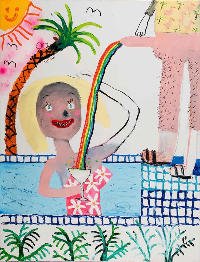 Bel Fullana – MAMADING IN THE SWIMMING POOL. Oil, charcoal and spray on canvas. 116 x 81 cm. 2016