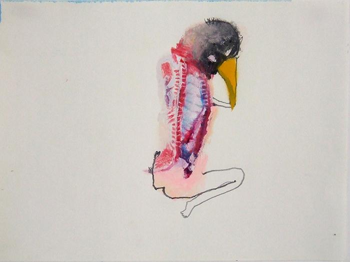Bel Fullana – FLESHY LITTLE BIRD. Oil, pencil and spray on paper. 21 x 29,7cm. 2014