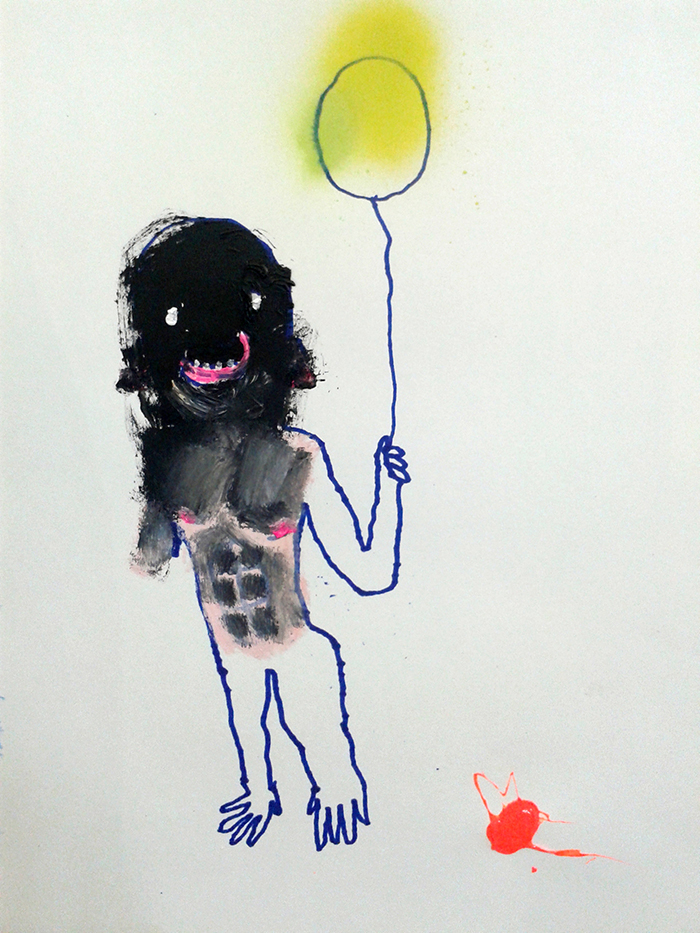 Bel Fullana – MONKEY MAN. Oil, acrylic, marker pen and spray on paper. 29'7 x  21 cm. 2014