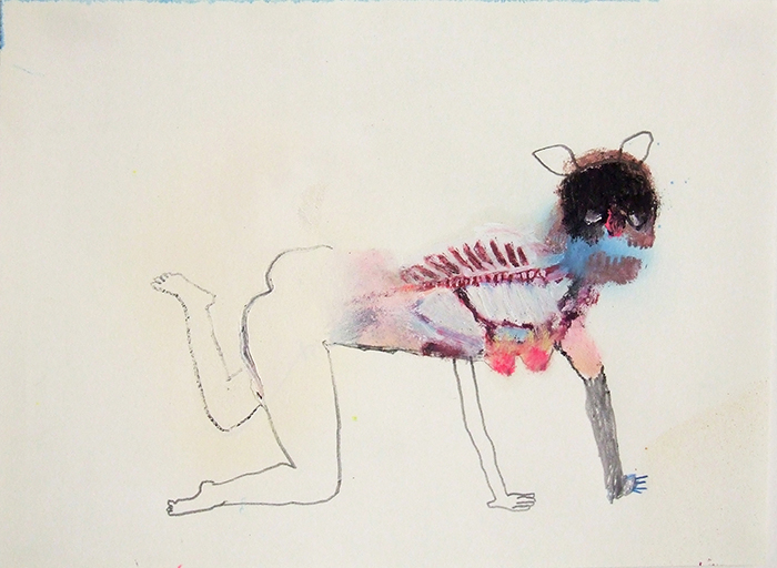 Bel Fullana – FLESHY PEGGY. Oil, pencil, pen and spray on paper. 21×29,7cm. 2014