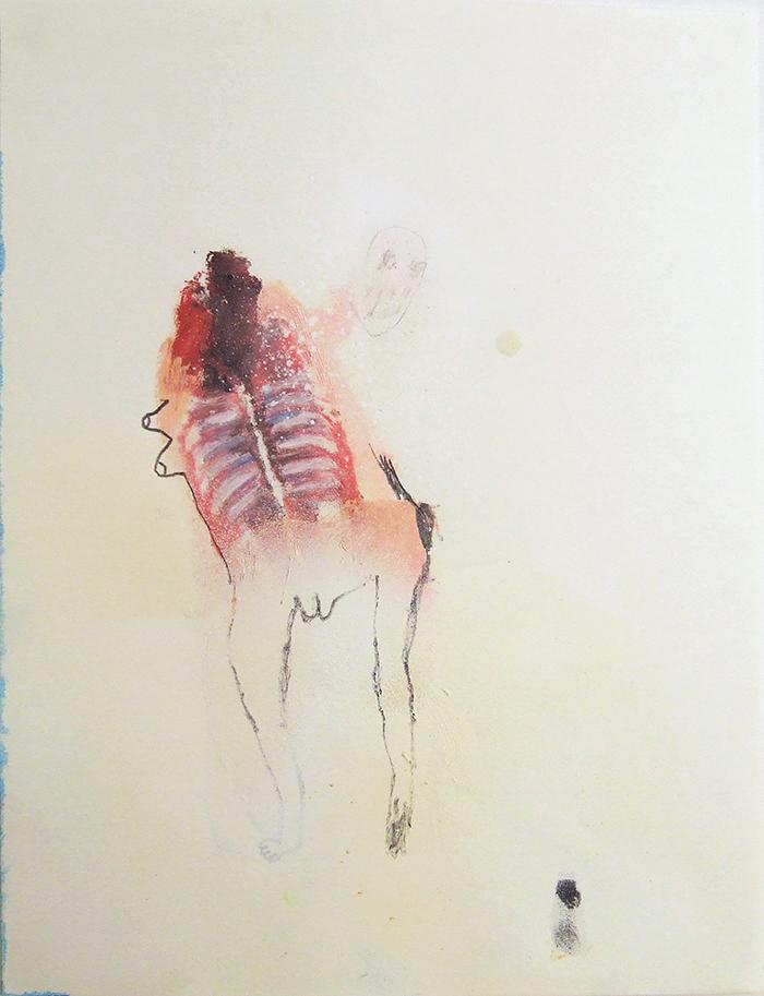 Bel Fullana – CARNITAS CRUJIENTES .Oil, pencil and spray on paper. 29,7x21cm. 2014