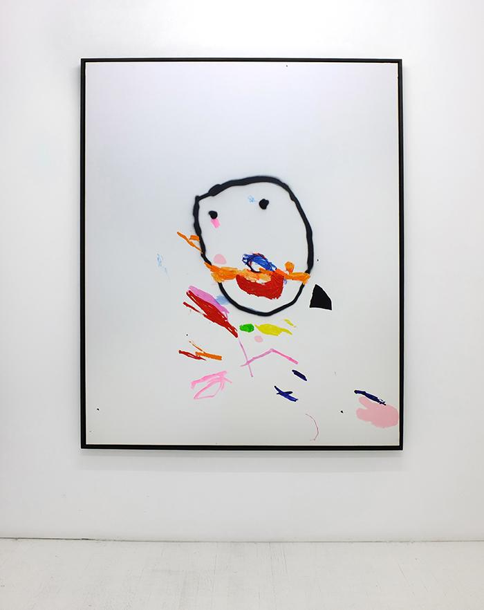 Bel Fullana – MR. POTATO SCARFACE. Oil, acrylic, spray and marker pen on canvas. 162 x 130 cm. 2014