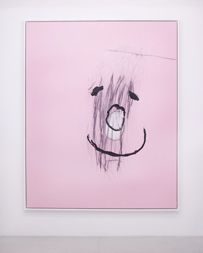 Bel Fullana – AUTORRETRATO ROSA CON MUCHO NEGRO. Oil, acrylic and charcoal on canvas. 162 x 130 cm. 2014