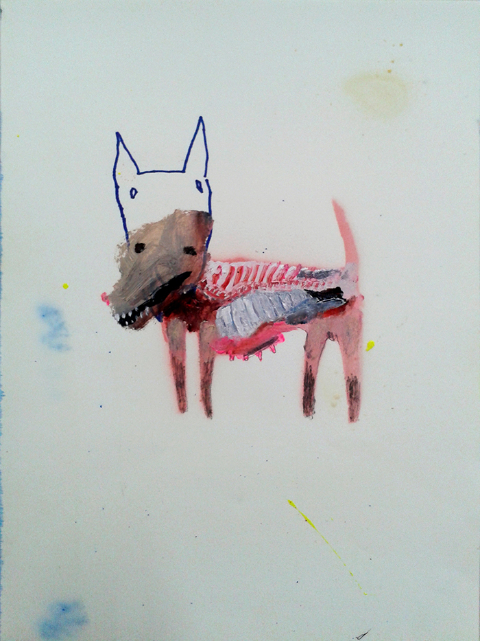 Bel Fullana – FLESHY PUPPY. Oil, spray, pencil and marker pen on paper. 28'3 x 21 cm. 2014