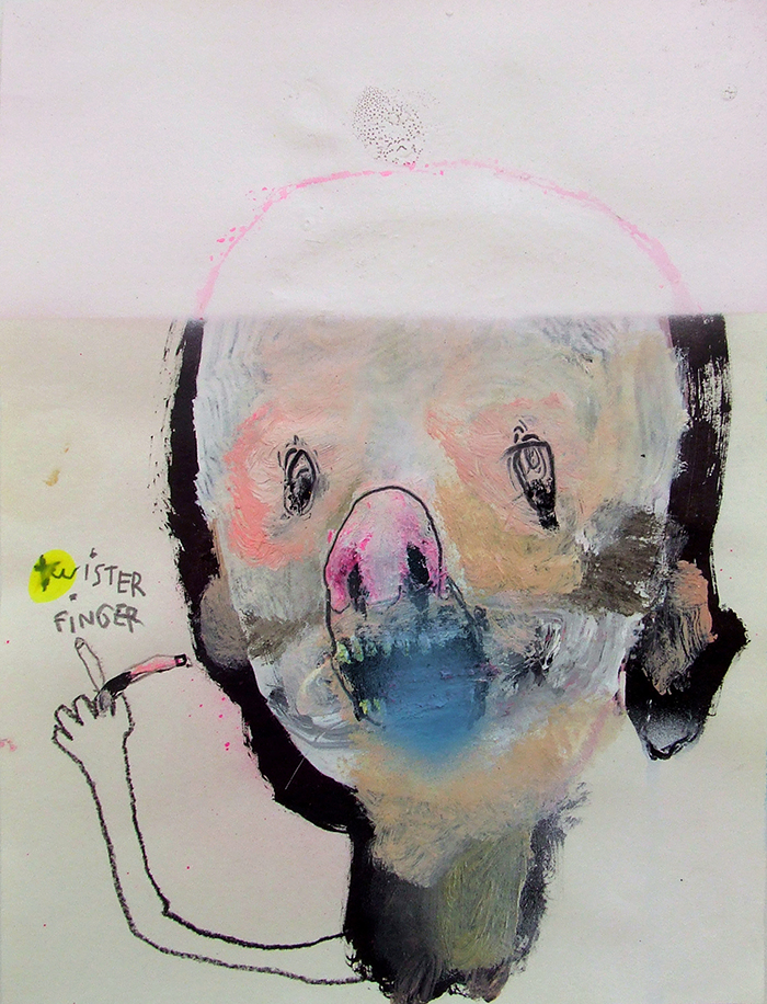 Bel Fullana – TWISTER FINGER. Oil, acrylic, pencil and spray on paper. 28'3 x 21 cm. 2014