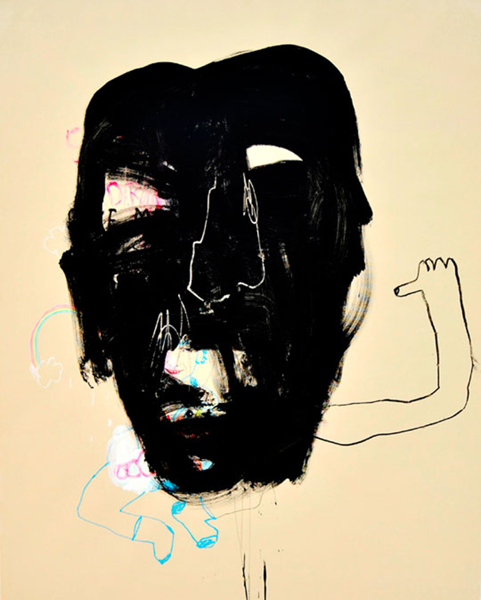 Bel Fullana – BLACK MASK. Acrylic, charcoal and marker pen on canvas. 162 x 130 cm. 2013