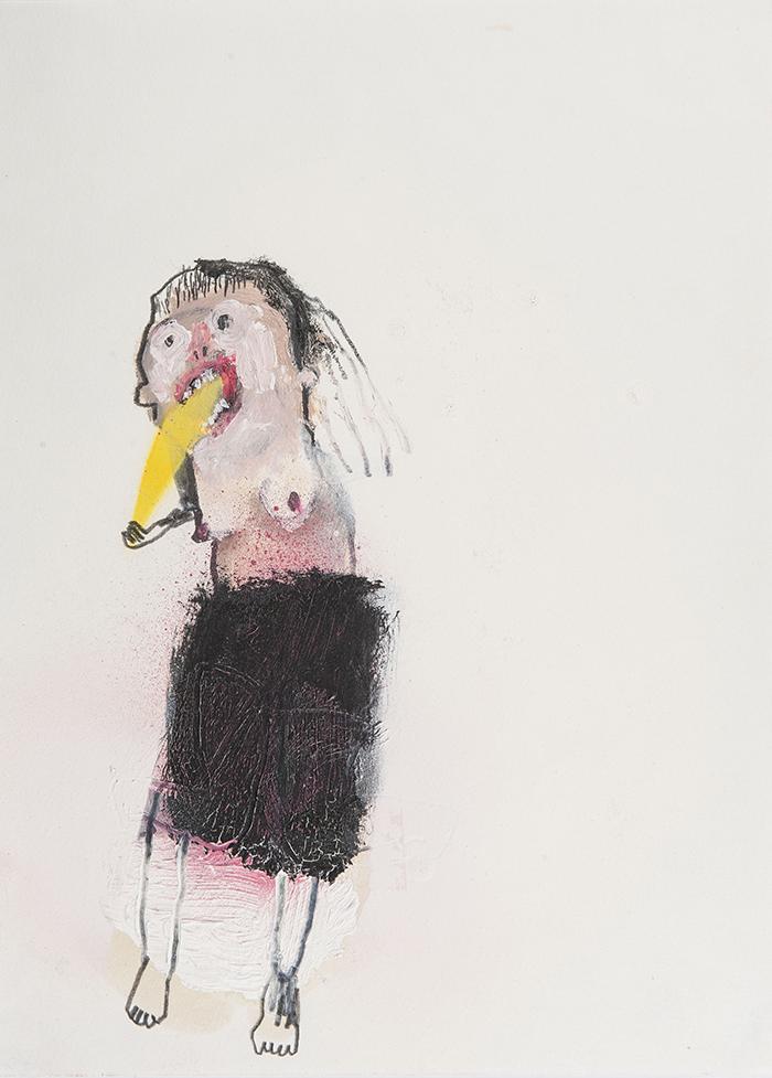 Bel Fullana – MISS PUKE. Oil, pencil and spray on paper. 28'3 x 21 cm. 2014