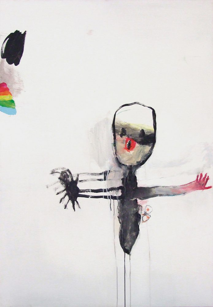 Bel Fullana – PUSSYFACE. Oil, acrylic, pencil and wax crayon on canvas. 130 x 81 cm. 2013
