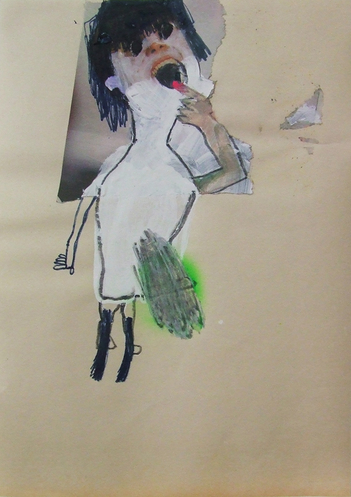 Bel Fullana – S.T. Oil, acrylic, marker pen, spray and collage on paper. 29'7 x 21 cm. 2013
