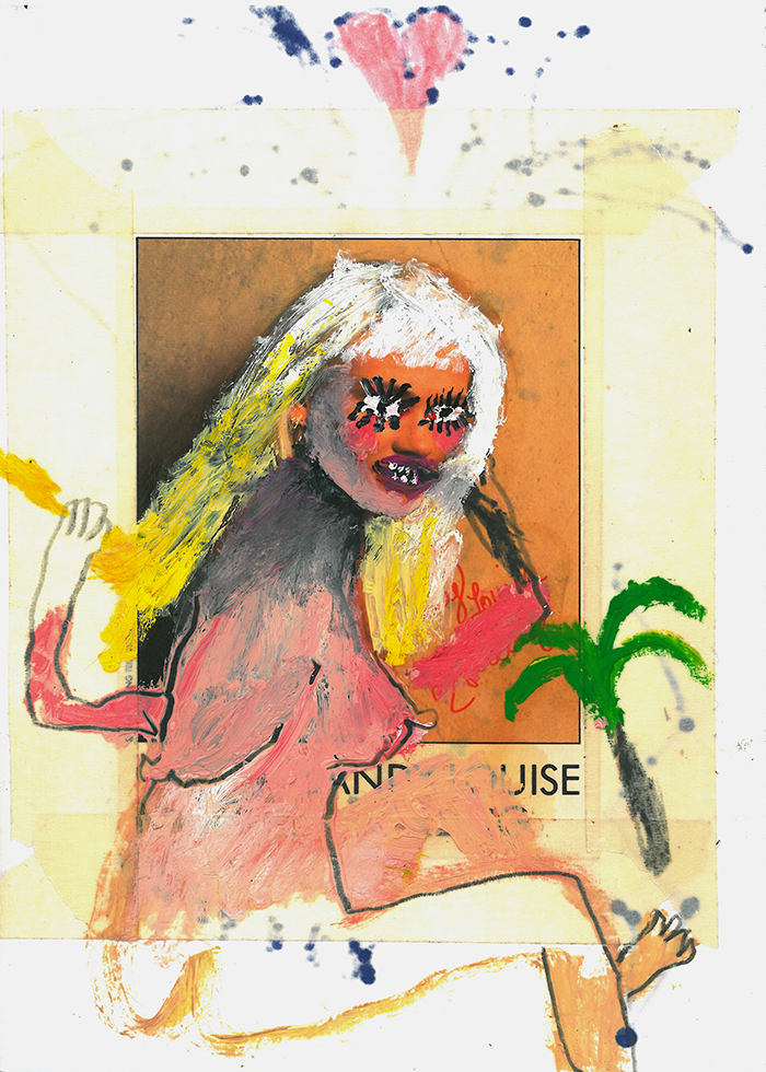 Bel Fullana – BLONDE BAYWATCH. Oil, pencil and collage on paper. 15 x 21 cm. 2017