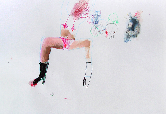 Bel Fullana – DANCING WITH MY LITTLE MONSTERS. Oil, pen and pencil on paper. 21 x 29'7 cm. 2012
